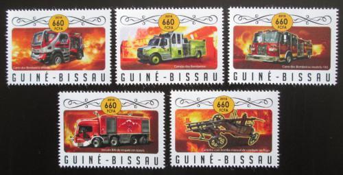 Poštovní známky Guinea-Bissau 2016 Hasièská auta Mi# 8979-83 Kat 12.50€