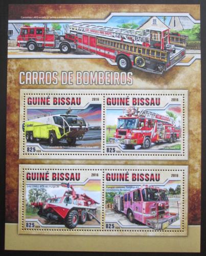 Poštovní známky Guinea-Bissau 2016 Hasièská auta Mi# 8753-56 Kat 12.50€