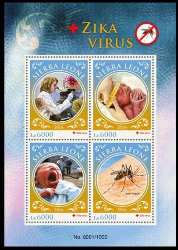 Poštovní známky Sierra Leone 2016 Boj proti viru Zika Mi# 7008-11 Kat 11€