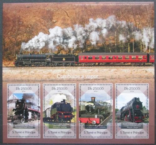 Poštovní známky Svatý Tomáš 2014 Parní lokomotivy Mi# 5749-52 Kat 10€