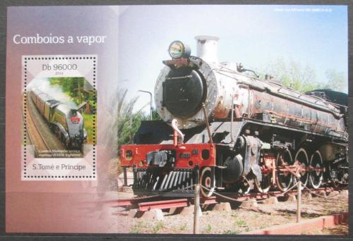 Poštovní známka Svatý Tomáš 2014 Parní lokomotivy Mi# Block 1009 Kat 10€