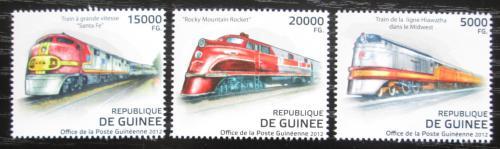 Poštovní známky Guinea 2012 Americké lokomotivy Mi# 9288-90 Kat 16€