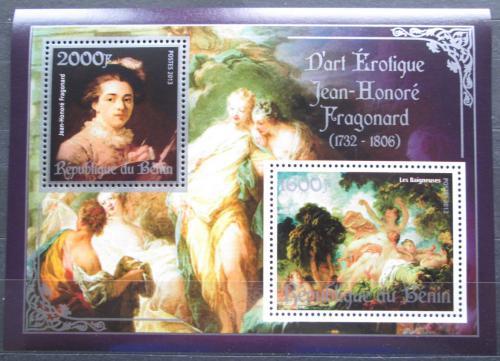 Poštovní známky Benin 2013 Umìní, akty, Jean-Honoré Fragonard Mi# N/N