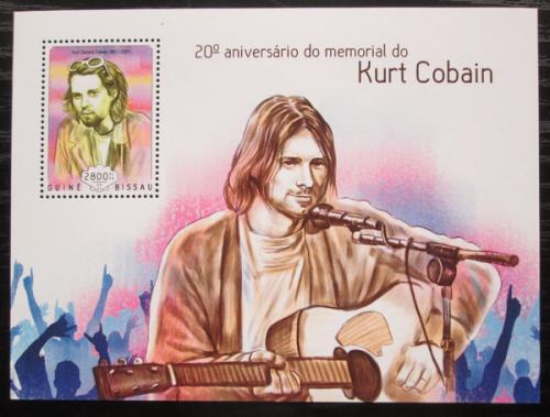 Poštovní známka Guinea-Bissau 2014 Kurt Cobain, Nirvana Mi# Block 1279 Kat 11€