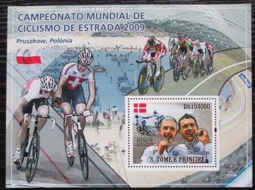 Poštovní známka Svatý Tomáš 2009 MS v dráhové cyklistice Mi# Block 694 Kat 10€