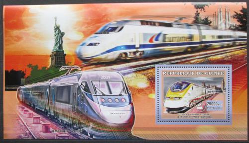 Poštovní známka Guinea 2006 Moderní lokomotivy Mi# Block 1052