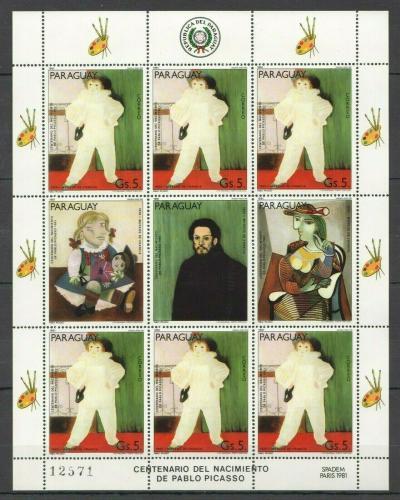 Poštovní známky Paraguay 1981 Umìní, Pablo Picasso Mi# 3442 Bogen Kat 8.50€