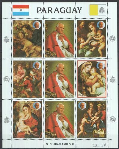 Poštovní známky Paraguay 1983 Umìní a papež Jan Pavel II. Mi# 3627 Bogen Kat 24€