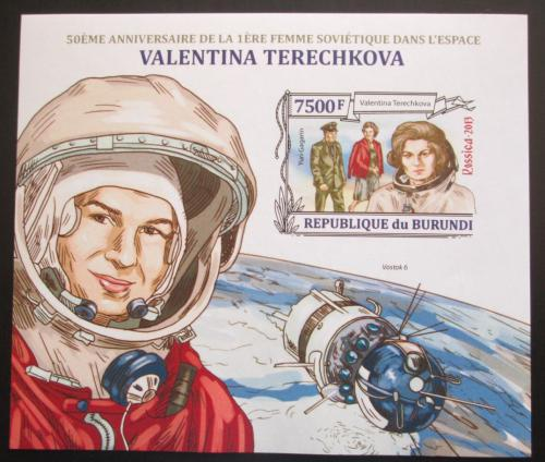 Poštovní známka Burundi 2013 Valentina Tìreškovová neperf. Mi# Block 349 B Kat 18€