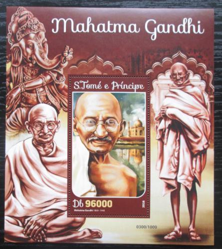 Poštovní známka Svatý Tomáš 2016 Mahátma Gándhí Mi# Block 1184 Kat 10€