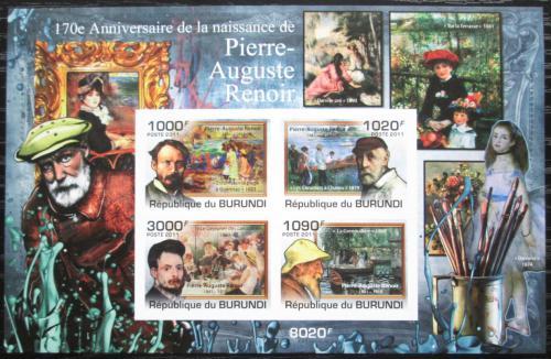 Poštovní známky Burundi 2011 Umìní, Pierre-Auguste Renoir neperf. Mi# Block 171 B