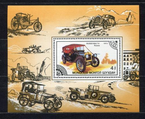 Poštovní známka Mongolsko 1986 Historické automobily Mi# Block 116