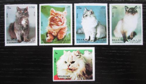 Poštovní známky Šardžá 1972 Koèky Mi# 1030-34