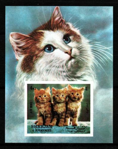 Poštovní známka Šardžá 1972 Koèky Mi# Block 120