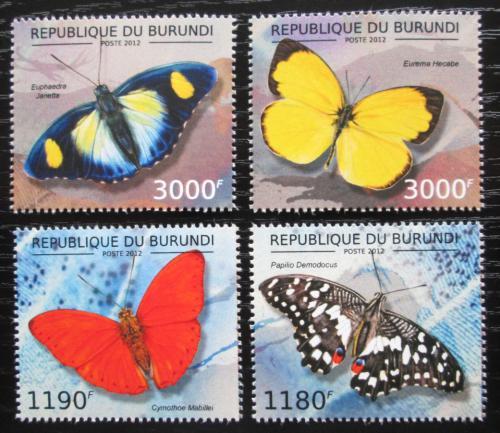 Poštovní známky Burundi 2012 Motýli Mi# 2762-65 Kat 10€