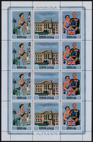 Poštovní známky Adžmán 1971 Královská svatba Mi# 1010-12 Bogen Kat 24€