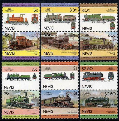 Poštovní známky Nevis 1985 Lokomotivy Mi# 280-91
