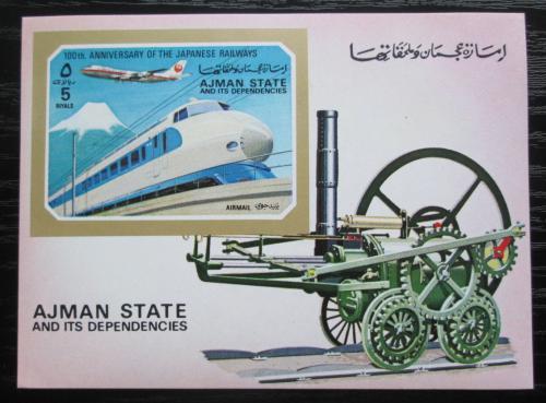 Poštovní známka Adžmán 1972 Japonská lokomotiva Mi# Block 402