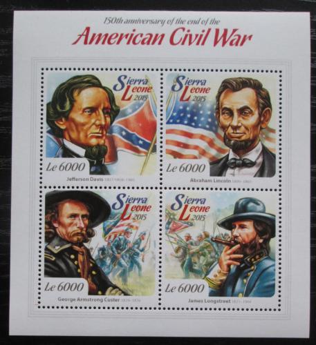 Poštovní známky Sierra Leone 2015 Americká obèanská válka Mi# 6123-26 Kat 11€