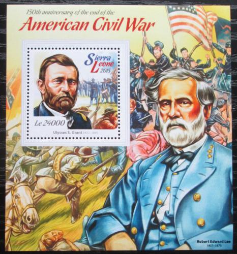 Poštovní známka Sierra Leone 2015 Americká obèanská válka Mi# Block 759 Kat 11€