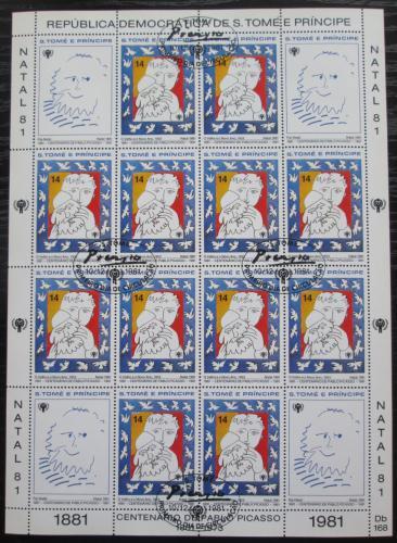 Poštovní známky Svatý Tomáš 1981 Umìní, Pablo Picasso Mi# Mi# 714 Bogen Kat 17€