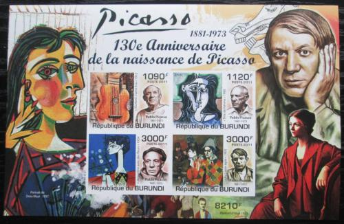 Poštovní známky Burundi 2011 Umìní, Pablo Picasso neperf. Mi# Mi# Block 189 B