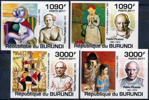Poštovní známka Burundi 2011 Umìní, Pablo Picasso neperf. Mi# Mi# 2274-77 B