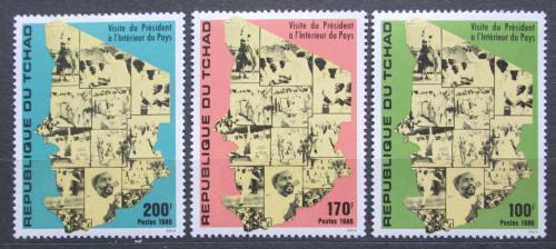 Poštovní známky Èad 1986 Prezident Habré a mapa Mi# 1137-39 Kat 6€