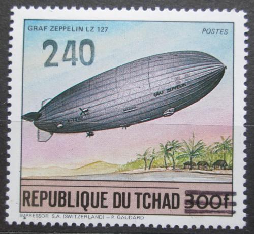 Poštovní známka Èad 1987 Vzducholoï pøetisk RARITA Mi# 1152