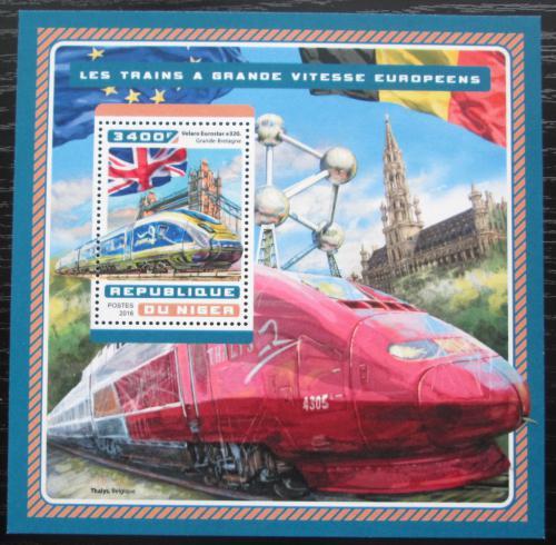 Poštovní známka Niger 2016 Evropské moderní lokomotivy Mi# Block 634 Kat 13€