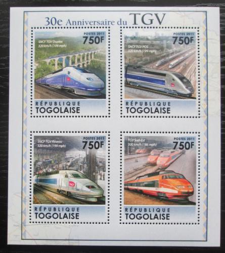 Poštovní známky Togo 2011 Moderní lokomotivy TGV Mi# 4039-42 Kat 12€