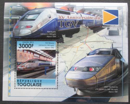 Poštovní známka Togo 2011 Moderní lokomotivy TGV Mi# Block 618 Kat 12€