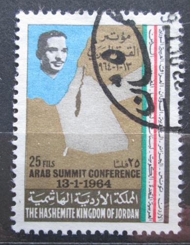 Poštovní známka Jordánsko 1964 Mapa Palestiny a Jordánska Mi# 465
