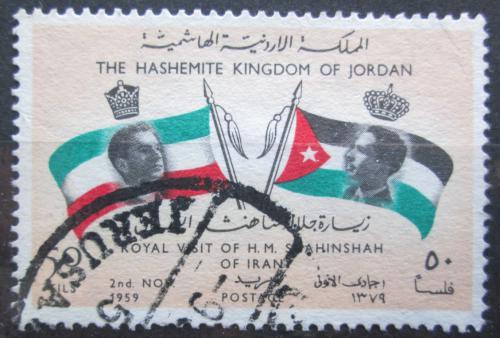 Poštovní známka Jordánsko 1960 Vlajky Íránu a Jordánska Mi# 363