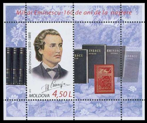 Poštovní známka Moldavsko 2010 Mihai Eminescu, básník Mi# Block 48