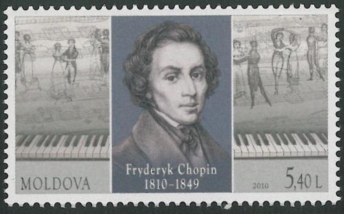 Poštovní známka Moldavsko 2010 Fryderyk Chopin Mi# 693 Kat 3.50€
