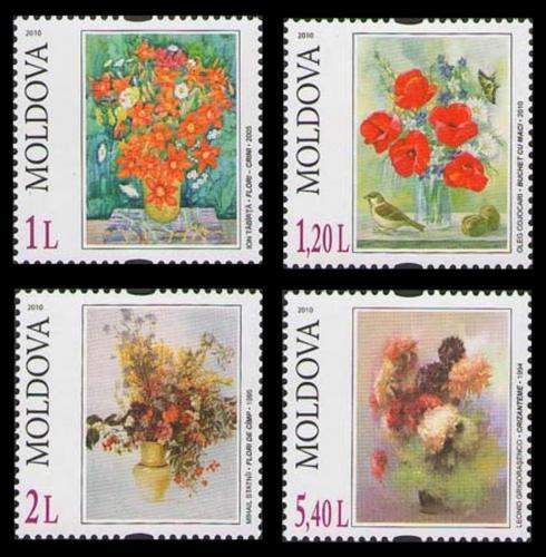 Poštovní známky Moldavsko 2010 Umìní, kvìtiny Mi# 709-12