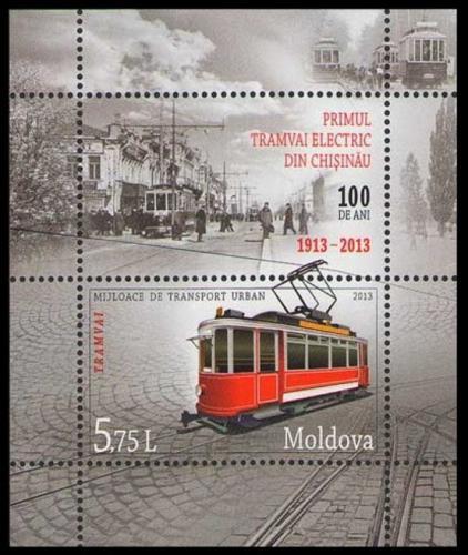 Poštovní známka Moldavsko 2013 Tramvaj Mi# Block 65