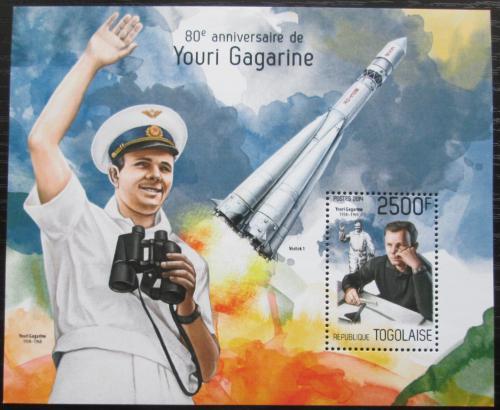 Poštovní známka Togo 2014 Jurij Gagarin Mi# Block 968 Kat 10€