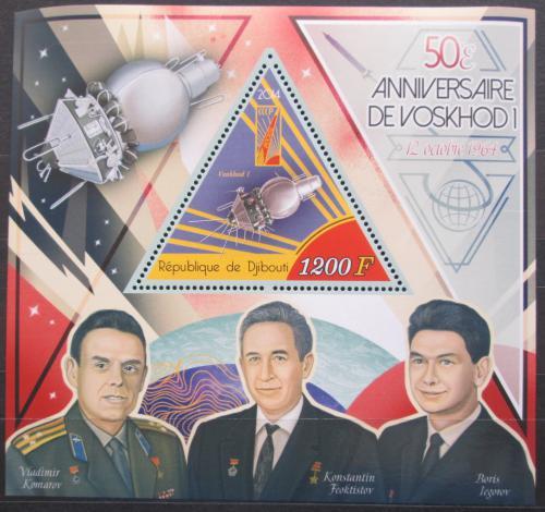 Poštovní známka Džibutsko 2014 Voschod I, sovìtští kosmonauti Mi# N/N