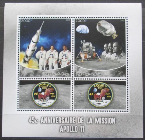 Poštovní známky Kongo 2015 Prùzkum Mìsíce, mise Apollo 11 Mi# N/N