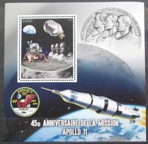 Poštovní známka Kongo 2015 Prùzkum Mìsíce, mise Apollo 11 Mi# N/N