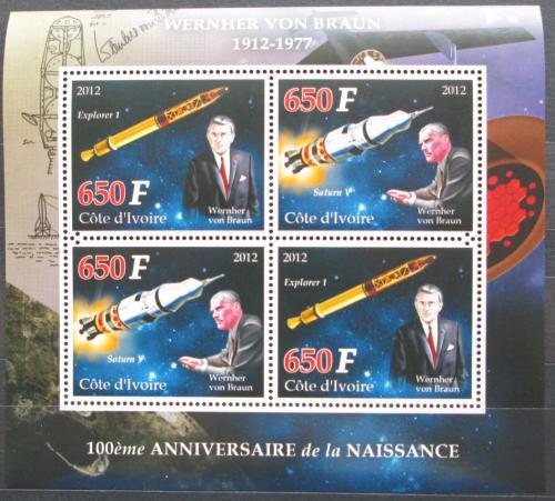 Poštovní známky Pobøeží Slonoviny 2012 Wernher von Braun Mi# N/N