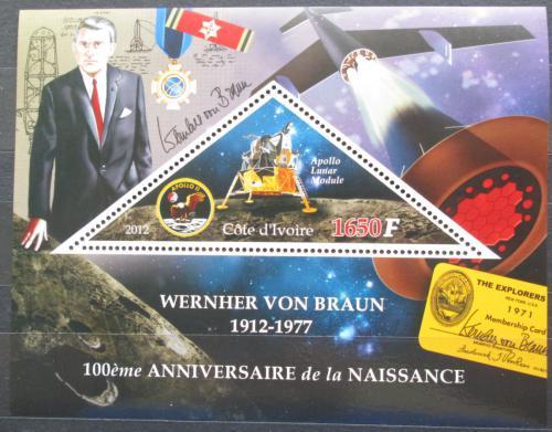 Poštovní známka Pobøeží Slonoviny 2012 Wernher von Braun Mi# N/N