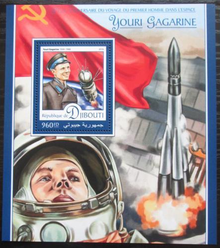 Poštovní známka Džibutsko 2016 Jurij Gagarin Mi# Block 295 Kat 10€