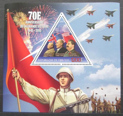 Poštovní známka Džibutsko 2015 Konec války, Churchill, Roosevelt, Stalin Mi# N/N
