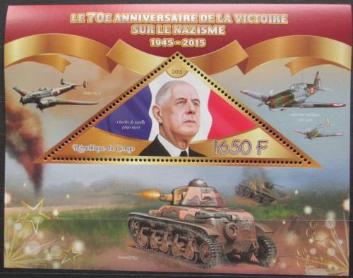 Poštovní známka Kongo 2015 Charles de Gaulle Mi# N/N