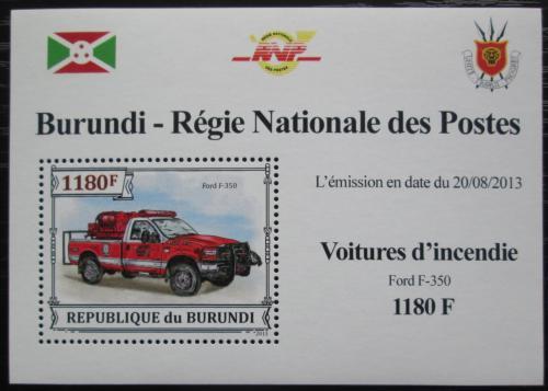 Poštovní známka Burundi 2013 Hasièské auto DELUXE Mi# 3299 Block