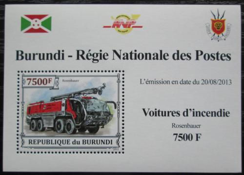 Poštovní známka Burundi 2013 Hasièské auto DELUXE Mi# 3302 Block
