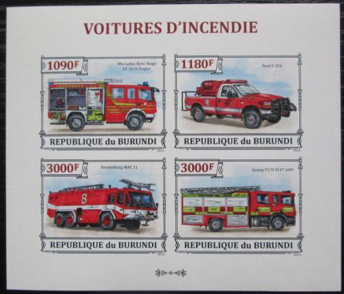 Poštovní známky Burundi 2013 Hasièská auta neperf. Mi# 3298-3301 B